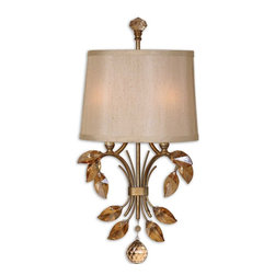 Uttermost - Alenya 2 Light Gold Wall Sconce - This golden wall sconce with crystals teak leaves will 'light up your life.' How can you not smile when you look at the craftsmanship in each leaf? Not to mention the gorgeous champagne silk shade that lets the light play on the crystal ball.