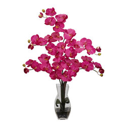 Nearly Natural - Phalaenopsis with Vase Silk Flower Arrangement - Painting a mosaic of beauty and splendor, this remarkable floral arrangement adds a portrait of color to any room. With its beautiful and full flower petals, this will add a happy memory to whatever event it takes part in. Complete with a decorative vase filled with liquid illusion faux water, this elegant beauty will stay looking fresh for years to come.