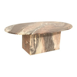 Unbranded - Consigned Mid Century Modern Black and Cream Marbled Coffee Table - • Mid Century | Hollywood Regency