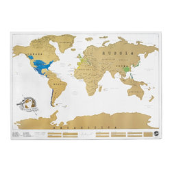 Scratch Map - Oh, the places we'll go! A fun map that lets us scratch off the places we've visited.