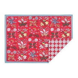 KAF Home - Botanical Red Floral Placemat, Set of 4 - The botanical floral pattern placemat pairs wonderfully with its reversible geometric pattern to create an exotic clash of designs. This placemat is suitable for a formal or casual occasion.