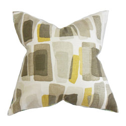 The Pillow Collection - Ulla Geometric Pillow Brown - With a unique pattern which resembles an art work, this accent pillow is perfect for your modern home. This throw pillow features a muted color scheme rendered in touches of gray, yellow and brown. Toss this square pillow in your bed, couch or seat for comfort and style. Constructed with 100% plush cotton fabric. Hidden zipper closure for easy cover removal.  Knife edge finish on all four sides.  Reversible pillow with the same fabric on the back side.  Spot cleaning suggested.
