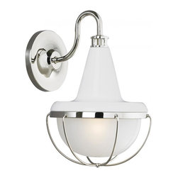 Joshua Marshal - 1 - Light Outdoor Lantern - Finish: High Gloss White/Polished Nickel