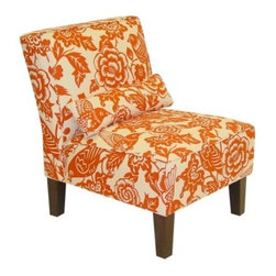 Canary Print Slipper Chair, Orange - I adore this botanical fabric occasional chair in orange and white. Add this to your room with a few more accessories in this citrus hue, and you've got a warm and inviting space.