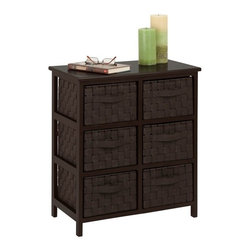 Woven Strap 6 Drawer Chest, Espresso - Honey-Can-Do TBL-03759 6-Drawer Storage Chest, Espresso Black. Getting organized has never looked better with this impressive double woven chest. This storage unit has six spacious drawers to hold clothes, tools, office supplies or anything else that needs tucked away. A natural wood top surface provides even more storage space and can double as a night stand. Coordinates with other pieces in Honey-Can-Do's collection of double woven products.