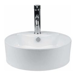Renovators Supply - Vessel Sinks White Prescott Vessel Sink | 13489 - Vessel Sinks Above Counter: Made of Grade A vitreous China these sinks easily endure daily wear and tear. Our protective RENO-GLOSS finish resists common household stains and makes it an EASY CLEAN wipe-off surface. Ergonomic and elegant easy reach design reduces daily strain placed on your body. SPACE-SAVING design maximizes limited bathroom space. Easy, above counter installation let's you select from many faucet styles and countertop designs, sold separately. Measures 18 1/2 inch diameter