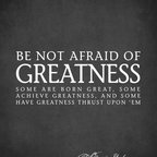 """Keep Calm Collection - Be Not Afraid Of Greatness (William Shakespeare Quote), 18"""" x 22"""" premium wall d - This premium wall decal sticks to virtually any surface and can be removed and repositioned 100 times or more, without leaving any residue or removing paint from walls. The decal is made from a fabric material with self adhesive backing for easy peel and stick installation. This wall decal includes a 1 inch white border. Recommended for indoor use only. Installation instructions included. Printed in the USA, using archival pigment based inks."""
