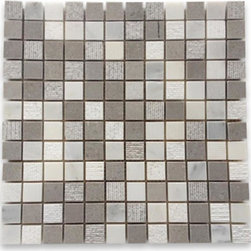 """GlassTileStore - Esker Portland Gray Squares Marble Tile - Esker Portland Gray Squares Marble Tile             This marble mosaic will provide endless design possibilities from contemporary to classic. It creates a great focal point to suit a variety of settings. The mesh backing not only simplifies installation, it also allows the tiles to be separated which adds to their design flexibility. Natural stones are products of nature, therefore, variations in color, pattern, texture, and veining will occur.         Chip Size: 1""""x 1""""   Color: Lady Gray and Asian Statuary   Material: Marble   Finish: Honed and Chiseled    Sold by the Sheet - each sheet measures 12"""" x 12"""" (1 sq. ft.)   Thickness: 10mm   Please note each lot will vary from the next.            - Glass Tile -"""