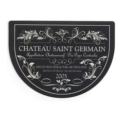 "Frontgate - Half-round Cushioned Wine Bistro Mat - Black - Durable natural-rubber mat. Features a woven polyester surface. Suitable for all floor types. Slip-resistant backing holds mat securely in place. Sprays clean with hose. Beautifully adorned with an elegant wine label motif, our 1/3"" thick Cushioned Wine Bistro Mat relieves strain on your feet and legs while you work in the kitchen.. . . . . Note: Do not place on wet floors. Made in the USA."