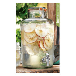 Home Essentials - Nantucket Vintage Glass Jar Drink Dispenser - It's fun to play hostess, however you don't want to run back and forth to the kitchen every time a guest wants a drink! Crafted of high quality glass and fashioned into the shape of a bail & trigger jar this beverage dispenser is an established and classy way to host and serve. Our high quality glass drink dispenser is the perfect beverage companion to spring garden parties, summer barbecues or children's birthday parties on the patio. Enjoy some refreshing raspberry lemonade or sangria in the heat of summer or some ice cold coke year round!