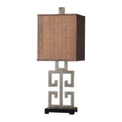 David Frisch - David Frisch Greek Key Transitional Table Lamp X-1-95862 - Metal base finished in a lightly antiqued silver champagne leaf with a matte black foot. The rectangle box shade is a silken chocolate bronze fabric with black slubbing.