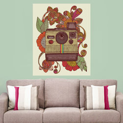My Wonderful Walls - Retro Camera Art Wall Sticker Decal – Out of Sight by Valentina Harper, Small - - Product: decal of a Polaroid camera surrounded by flowers and leaves