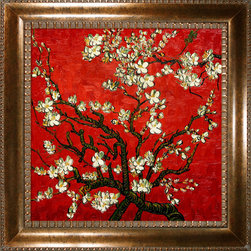 "overstockArt.com - Van Gogh - Branches Of An Almond Tree In Blossom (Artist Interpretation in Red) - 24"" X 24"" Oil Painting On Canvas Hand painted oil reproduction of a famous Van Gogh painting in an artists interpretation, Branches of an Almond Tree in Blossom. The original masterpiece was created in 1890. Today it has been carefully recreated detail by detail, color by color to near perfection. Van Gogh created this painting as a gift for his newborn nephew. The way he made is brush strokes were fitting to the baby because he combined a sense of fragility and energy. A joyous and hopeful image for the child's future. Vincent Van Gogh's restless spirit and depressive mental state fired his artistic work with great joy and, sadly, equally great despair. Known as a prolific Post-Impressionist, he produced many paintings that were heavily biographical. This work of art has the same emotions and beauty as the original. Why not grace your home with this reproduced masterpiece? It is sure to bring many admirers!"