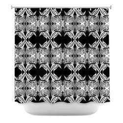 DiaNoche Designs - Shower Curtain Artistic - Black Swag - DiaNoche Designs works with artists from around the world to bring unique, artistic products to decorate all aspects of your home.  Our designer Shower Curtains will be the talk of every guest to visit your bathroom!  Our Shower Curtains have Sewn reinforced holes for curtain rings, Shower Curtain Rings Not Included.  Dye Sublimation printing adheres the ink to the material for long life and durability. Machine Wash upon arrival for maximum softness on cold and dry low.  Printed in USA.