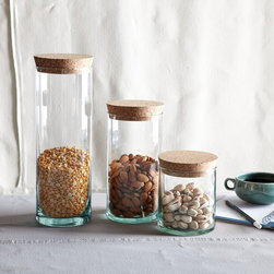 Recycled-Glass with Cork Lid - I'd have no problem finding all the random items buried in the back of my pantry if these were a part of my life.
