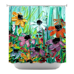 DiaNoche Designs - Shower Curtain Artistic - Stories from A Field Act lxi - DiaNoche Designs works with artists from around the world to bring unique, artistic products to decorate all aspects of your home.  Our designer Shower Curtains will be the talk of every guest to visit your bathroom!  Our Shower Curtains have Sewn reinforced holes for curtain rings, Shower Curtain Rings Not Included.  Dye Sublimation printing adheres the ink to the material for long life and durability. Machine Wash upon arrival for maximum softness. Made in USA.  Shower Curtain Rings Not Included.