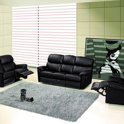 Modern Black Leather Reclining Sofa Set Loveseat Recliner Living Room - Features