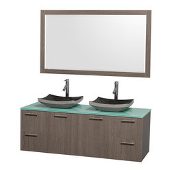 Wyndham Collection - Double Bowl Bathroom Vanity Set - Includes two sinks, green glass top, mirror, drain assemblies and P-traps for easy assembly. Faucets not included. Square black granite sinks. Two functional doors. Concealed soft close door hinges. Modern brushed chrome door pulls. Unique and striking contemporary design. Four functional drawers. Fully-extending soft-close drawer slides. Deep doweled drawers. Single-hole faucet mount. Plenty of storage space. Eight-stage preparation, veneering and finishing process. Highly water-resistant low V.O.C. sealed finish. Metal exterior hardware with brushed chrome finish. Wall-mount design. Mirror glass thickness: 0.75 in.. Warranty: Two years limited. Made from beautiful veneers over highest quality grade E1 MDF. Gray oak finish. Door: 17.25 in. W x 20.5 in. H. Drawer: 12.63 in. W x 10.13 in. H. Mirror: 58 in. W x 33 in. H (67 lbs.). Vanity: 60 in. W x 22.25 in. D x 21.25 in. H (124 lbs.). Handling Instructions. Installation Instructions - Mirror. Installation Instructions - VanityModern clean lines and a truly elegant design aesthetic meet affordability in the Wyndham Collection Amare Vanity. Each vanity provides a full complement of storage areas behind sturdy soft-close doors and drawers. A wall-mounted vanity leaves space in your bathroom for you to relax. The simple clean lines of the Amare wall-mounted vanity family are no-fuss and all style.