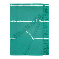 Nine Space - Tie Dye Beach Wrap, Teal - This hippie-chic tie-dye beach wrap will have you turning heads with its showy colors and flirty fringe. Use it a lightweight towel, a glamorous beach wrap or as a trendy sarong.