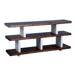 Ambella Home - Metro AV Console Table - This hip console table takes a page from the '60s and elevates it to modern, sleek and stylish heights. Carved from white cedar and finished in dark driftwood, this wood and metal sculpture says you've come a long way from cinder blocks and one-by-sixes, baby!