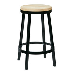 """Office Star - Office Star Bristow Metal Backless Barstool in Black-26"""" Height Barstool - Office Star - Bar Stools - BRW32263 - Need a little something to complete your dining style/look? This simple yet stylish barstool will be great to add to your dining room or kitchen. Ready to assemble when received. OSP Designs Bristow Metal Backless Barstool (Black Finish Frame)"""