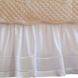 Taylor Linens - Tailored Pinefore White Twin Bed Skirt - No monsters under this bed. You're sure to rest easy with this pretty eyelet and pintuck bedskirt. Made with white 100 percent cotton percale, it features a wide-band hemstitched edge and is machine washable. Sweet dreams are made of this.