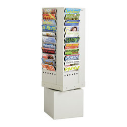 Safco - Safco 44-Pocket Steel Rotary Magazine Rack - Safco - Magazine Racks - 4324GR - This steel rotating brochure and magazine rack is ideal for reception areas or waiting rooms. Textured powder coat finish. Ships fully assembled. Steel Rotary Magazine Rack is four sided and rotates 360 degrees for total access to all literature.