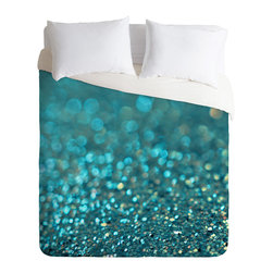 Lisa Argyropoulos Aquios King Duvet Cover - Drift off to sleep in a sea of watery blues. This soft duvet cover features deep aquamarine, pale aqua, white and a hint of coral custom printed in a watercolor dots and blurs pattern. Pop in your favorite duvet, zip the hidden zipper and rest easy.