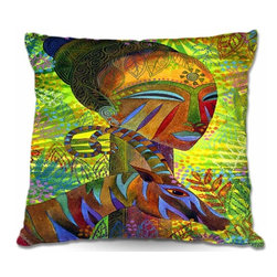 DiaNoche Designs - Pillow Woven Poplin - African Queens - Toss this decorative pillow on any bed, sofa or chair, and add personality to your chic and stylish decor. Lay your head against your new art and relax! Made of woven Poly-Poplin.  Includes a cushy supportive pillow insert, zipped inside. Dye Sublimation printing adheres the ink to the material for long life and durability. Double Sided Print, Machine Washable, Product may vary slightly from image.