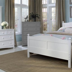 Bolton Furniture - Cottage Queen Bed w Wakefield Dresser Set in White Finish - Includes Cottage queen headboard, footboard and side rails and Wakefield dresser & mirror set. Chest not included. Bed:. Queen size bed. 64 in. L x 85 in. W x 47 in. H. Dresser:. 7 Drawers. Beaded side panels. Classic framed drawer fronts. Dovetailed drawers and self-closing under mount glides. Made of solid birch hardwoods & veneers. 60 in. W x 19 in. D x 34 in. H. Mirror:. Rectangular frame. Made of solid birch hardwoods & veneers. 32 in. W x 40 in. H (32 lbs.). White finish. Assembly required. 1-Year warranty