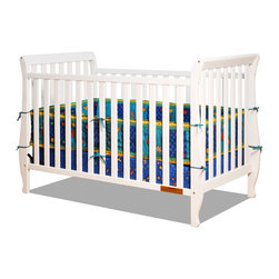 """AFG Baby Furniture - Naomi Convertible Crib with Toddler Rail White - Accented by graceful curves on the legs, the Naomi 4-in-1 Convertible Crib brings unique style combining different elements for safety and ease of use. Made of pine solid hardwood with a non toxic finish, the Naomi crib has stationary sides for added safety in addition to wide, thick slats for extra sturdiness. Features 3-level adjustable mattress height support, and conversion to a toddler bed or day bed with the included guardrail, or full-size bed (conversion rails sold separately).; Color: White; Construction: Wood / Metal; Weight: 43 lbs; Dimensions: 57""""L x 29""""W x 38""""H"""