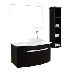 Virtu USA - 40in. Anabelle Single Sink Vanity Set in Espresso with Artificial White Stone - The Anabelle features an elegant Euro-modern design with superb craftsmanship. The vanity is constructed from solid oak wood and finished with natural wood veneer. The Anabelle is equipped with designer brand BLUM soft closing slides. A large artistic basin provides a contrasting color balance. The vanity is available in Chestnut, Espresso or Walnut finishes with the option of quartzite or artificial white stone countertop. The completed set includes an aluminum framed mirror. Nothing short of perfection, the Anabelle vanity is a gorgeous centerpiece to any bathroom.