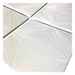 brave space design - Diamond Cut Coasters, Set of 4 - Shine on like the crazy diamond you are when you set out these intricately cut coasters. This set of four, white Corian coasters has been repurposed from recycled countertop surfaces and each one is durable and heat-resistant.