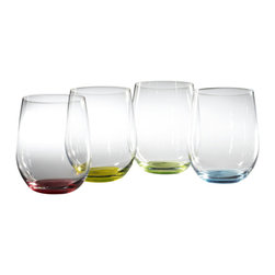 "Riedel - Riedel O Happy ""O"" Wine Tumblers Glasses - Set of 4 - Super coloured Riedel O wine tumblers. Set contains 1 each of red, green, blue, yellow. Attractively packaged, makes for a great gift."