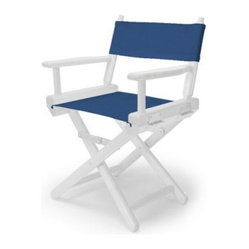 14 in. Blue Child's Canvas Directors Chair - White Frame