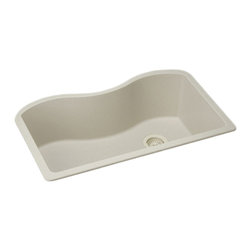"Elkay - Elkay ELGUS3322RBQ0  Harmony E-Granite Sink - Elkay's ELGUS3322RBQ0 is a Harmony E-Granite Sink. This single-bowl sink is molded from Elkay's E-Granite which consists of up to 85% natural quartz and high performance acrylic resins. It features a 9-1/2"" bowl depth and a 3-1/2"" drain opening. This sink comes in a beautiful Bisque finish."