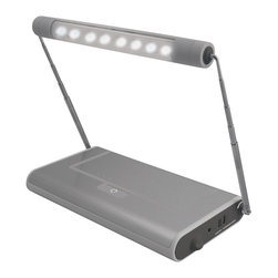 "Other - Transitional Silver USB and Battery-Powered 8-LED Task Light - This innovative portable task light features 8 super bright white LEDs offering more light for desks computers reading studying hobbies repairs and more. Extend and rotate as needed retract for compact storage. Light head can extend up to 14"". Includes built-in storage compartment and 3x/5x magnifying lens. On/off switch includes press-and-hold dimming feature. Silver finish. 8 super bright white LEDs. USB power or 3 AA batteries (not included). Adjustable head. Magnifying lens. Storage compartment. Max. 14"" high.  Silver finish.   8 super bright white LEDs.   USB power or 3 AA batteries (not included).   Adjustable head.   Magnifying lens.   Storage compartment.   Max. 14"" high.  Base 8"" wide x 4 1/2"" depth."
