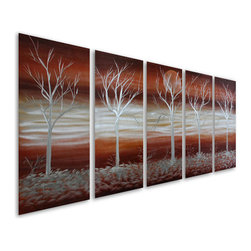 Pure Art - Silver Trees Five-Panel Aluminum Metal Wall Art - Who said that trees needed to be green and lush to be beautiful and appreciated? The Silver Trees Five Panel Aluminum Metal Art Set begs to differ! These five handpainted aluminum panels feature five separate trees, each of them bare of any foliage, that are nestled into a silver earth and set upon a back drop of silver and rust for a sensational look that is nothing short of stunning.  Hang this big set of panels atop a large furniture item or on any larger wall where you want to draw the eye and garner some oohs-and-aahsMade with top grade aluminum material and handcrafted with the use of special colors, it is a very appealing piece that sticks out with its genuine glow. Easy to hang and clean.
