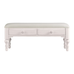 Stanley Furniture - Coastal Living Cottage Bed End Bench - Twilight Finish - When a settee is too much and a stool is too little, this cheery double-drawer bench fits the bill. Heavily padded upper seat makes soft work of lacing sneakers. Made to order in America.