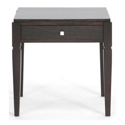Wholesale Interiors - Haley End Table - Finish your living room off with just the right touch of convenience and contemporary style! The classic appeal of our Haley end table is in its black stain, sturdy MDF and solid wood frame, and useful drawer. A silver tone drawer pull adds luster to the living room table.