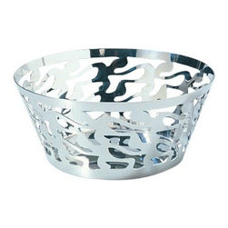 Alessi - Alessi 'Ethno' Round Basket - This mirror-polished, open-work basket is a beautiful way for you to present fruits, nuts or candy at your table. From Italian designer Stefano Giovannoni, this basket features a laser-cut, dance-inspired pattern, which is the hallmark of the 'Ethno' line.