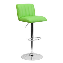Flash Furniture - Flash Furniture Contemporary Green Vinyl Adjustable Height Bar Stool - This designer chair will make an attractive statement in the home. The height adjustable swivel seat adjusts from counter to bar height with the handle located below the seat. The chrome footrest supports your feet while also providing a contemporary chic design. [CH-112010-GRN-GG]