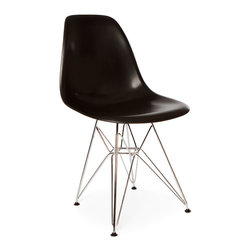 Vertigo Interiors - *Set of 4* Eames Style DSR Dining Side Chair , Black - Looking for that retro/modern look? Something with a range of colors and quirky styling, yet a classic, cultured look? Vertigo's fantastic reproduction Eames range constantly continues to grow in popularity and is just what you're looking for! This is the Eiffel version of this legendary design, combining metallic legs with sleek colorful side chair seat.