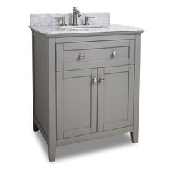 "Hardware Resources - Gray Chatham Shaker Vanity With Top and Bowl - 30"" Grey Chatham Shaker Vanity with Top and Bowl by Hardware Resources"