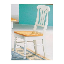 Coaster - Damen Side Chair - Set of 2 - Set of 2. Casual style. Contoured wooden seat. Pretty turned legs. Elegant lyre back shape with curves. Made from solid wood. Two tone natural and white finish. 17.25 in. W x 15.5 in. D x 36.5 in. HThis beautiful side chair will help you create a sophisticated style in your casual dining room. A seat and legs complete this simple but stylish chair. This collection for a charming dining room ensemble.