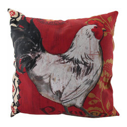 """Manual - """"La Provence"""" Hen Indoor/Outdoor Throw Pillow 20 In. - This 20 inch throw pillow adds a wonderful accent to inside your home, or outdoors on your porch or patio. The Climaweave fabric is durable, fade and moisture resistant, and is sure to look and feel great for years, wherever you display it. The pillow features a large white hen on either side, with black, gold and white accents on a red background. It is made of 100% polyester, from the cover to the soft stuffing, and is proudly made in the USA."""