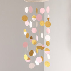 Mobiles - Pink and cream dots combine with gold glittered dots to make this gorgeous mobile! The top ring is wrapped in cream and gold cording.