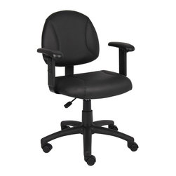 BossChair - Boss Black Posture Chair with Adjustable Arms - Beautifully upholstered in LeatherPlus. LeatherPlus is leather that has been infused with polyurethane for added softness and durability. Thick padded seat and back with built-in lumbar support. Waterfall seat reduces stress to your legs. Adjustable depth back. Pneumatic seat height adjustment. 5 star nylon base allows smooth movement and stability. Hooded double wheel casters. With adjustable arms.