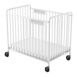 "Foundations - Foundations Baby Bedding Accessory Chelsea Slatted Crib 4"" Casters White - The Chelsea Crib offers outstanding quality at a price you can afford. 360 deg welding process ensures long-lasting strength. Nonporous, easy-to-clean powder-coated finish. The durability of steel ensures your investment will last. Reinforced mattress board adjusts to two heights. Duraloft heavy-duty 3"" mattress."