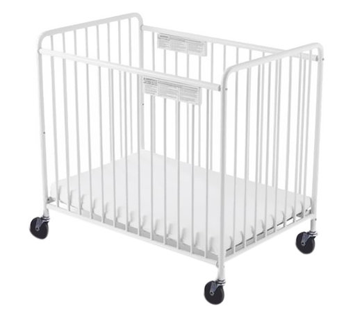 """Foundations - Foundations Baby Bedding Accessory Chelsea Slatted Crib 4"""" Casters White - The Chelsea Crib offers outstanding quality at a price you can afford. 360 deg welding process ensures long-lasting strength. Nonporous, easy-to-clean powder-coated finish. The durability of steel ensures your investment will last. Reinforced mattress board adjusts to two heights. Duraloft heavy-duty 3"""" mattress."""